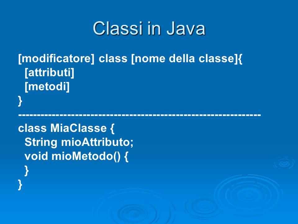 Classi in Java [modificatore] class [nome della classe]{ [attributi]